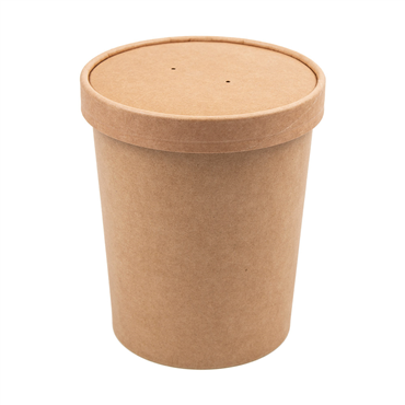 Kraft Cardboard Cup + Lid for Soup or Hot Food 960ml 117x90x135mm Box 250