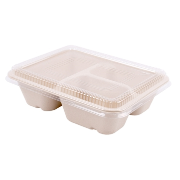 BIONIC Rectangular Container in Sugar Cane 950ml + Lid  220x1806x55x13mm 3 compartments 100pcs