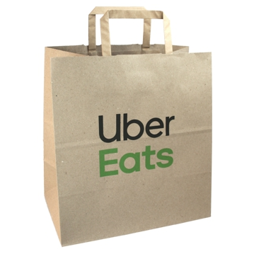 Brown Paper Bag with Flat Handle 270x160x290mm UberEats 250pcs